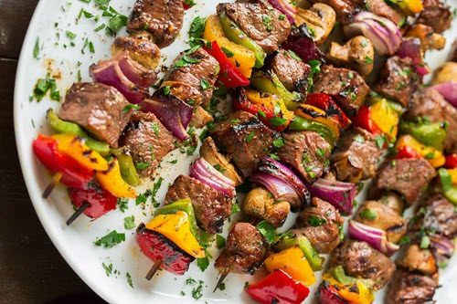 Grilled Steak Kebabs with Wasabi and Ginger